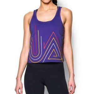 NEW! Under Armour Fly By Graphic Midi Tank Purple